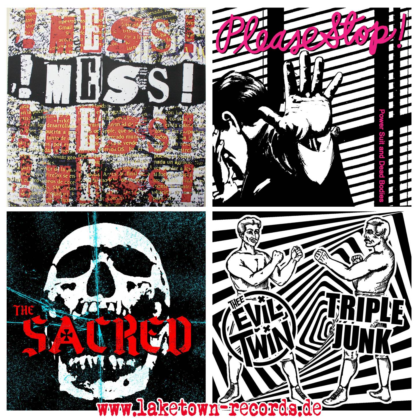 "!MESS!  (7"") - PLEASE STOP! (7"") - THE SACRED (7"") - THE EVIL TWINS / TRIPLE JUNK (SPLIT 7"")"